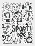 Элементы спорта doodles линия нарисованная рукой значок, eps10 иллюстрация штока