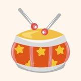 Элементы темы барабанчика игрушки младенца Стоковые Изображения