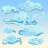 Элементы традиционного восточного пасмурного орнамента в голубых тенях Иллюстрация вектора