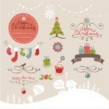 Элементы установленного дизайна на рождество и Новый Год Стоковая Фотография RF