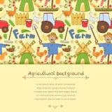 Элементы фермы иллюстрации вектора в стиле doodle Стоковые Изображения RF