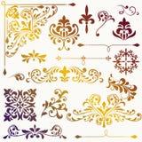 Элементы флористического дизайна вектора винтажные иллюстрация штока