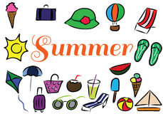 Элементы цвета летних каникулов нарисованные рукой Стоковое Изображение RF
