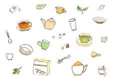 Элементы чая акварели установленные бесплатная иллюстрация