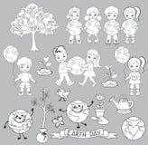 Элементы экологичности на день земли Счастливые дети празднуют день земли Стоковая Фотография