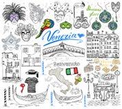 Элементы эскиза Венеции Италии Комплект нарисованный рукой Стоковая Фотография RF