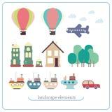 Элементы для ландшафта Корабль, воздушный шар, самолет, здания, деревья Стоковое Изображение