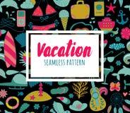 Элементы doodle летних каникулов установленные, безшовная картина Стоковые Изображения RF