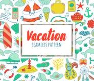 Элементы doodle летних каникулов установленные, безшовная картина Стоковая Фотография