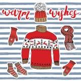 Элементы doodle сезона зимы установленные Вручите вычерченное собрание эскиза с теплыми одеждами, носками, перчатками, свитером и Стоковое Изображение