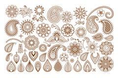 Элементы doodle татуировки хны Стоковая Фотография