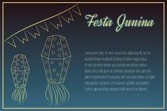 элементы Festa Junina Рук-чертежа на nighttime Стоковая Фотография RF