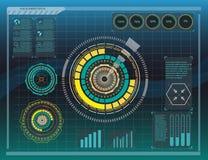 Элементы Hud, диаграмма также вектор иллюстрации притяжки corel Элементы головного дисплея для сети Стоковые Изображения RF