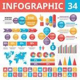 Элементы 34 Infographic Комплект элементов дизайна вектора в плоском стиле для представления, буклета, вебсайта и проектов дела