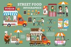 Элементы infographics еды улицы Деталь тележек еды Стоковое Изображение RF