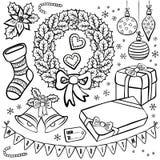 Элементы s иллюстрации рождества зимних отдыхов Стоковые Фотографии RF