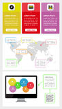 Элементы Ui, infographics и сети включая плоский d Стоковые Изображения RF