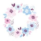 Элемент голубого и румяного цвета декоративный флористический Стоковая Фотография RF