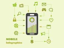 элемент графиков данным по дизайна apps Умн-телефона плоский иллюстрация штока