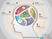Элемент графического дизайна головы шаблона дела infographic illust Стоковые Изображения