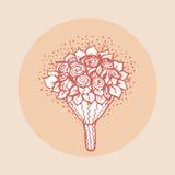 Элемент дизайна для wedding поздравительной открытки Винтажный стиль, нарисованная рука Стоковое Изображение RF