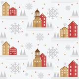 Элемент картины зимы безшовный с домами, спрусами и снежинками иллюстрация штока