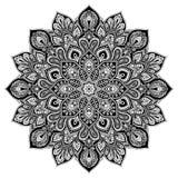 Элемент круга мандалы геометрический, черный Стоковое Изображение