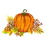Элемент осени для дизайна с листьями, ягодами рябины и зрелой тыквой Стоковые Фото