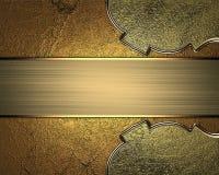 Элемент nameplate золота для дизайна Шаблон для конструкции скопируйте космос для брошюры объявления или приглашения объявления,  Стоковое Фото