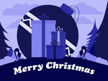 Эльфы рождества с огромным шариком и большими подарками Стоковое Фото