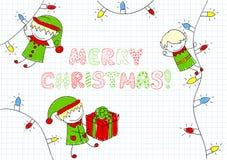 Эльфы рождества иллюстрация вектора