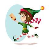 Эльф девушки рождества бежит с волшебным письмом учтивости Стоковые Изображения RF