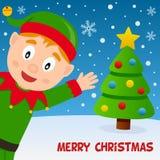 Эльф рождества усмехаясь и поздравительный открытка Стоковое Изображение RF