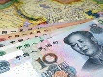 Юани на карте Китая китайская экономия Стоковое Изображение