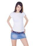 юбка джинсовой ткани брюнет симпатичная Стоковые Фото