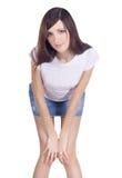 юбка джинсовой ткани брюнет Стоковые Фотографии RF