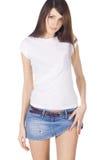 юбка джинсовой ткани брюнет симпатичная Стоковое Изображение