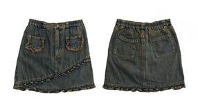 Юбка джинсовой ткани, спереди и сзади на белизне Стоковое Изображение RF