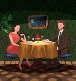 2 любовника на дате в ресторане иллюстрация штока