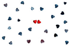 2 любящих сердца среди родовых других Стоковое фото RF