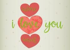 3 любящих сердца с словами и цветками внутрь Стоковая Фотография RF