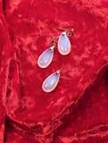 Ювелирные изделия женщины установили на красную предпосылку бархата Стоковая Фотография RF