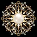 Ювелирные изделия фибулы, элемент дизайна Геометрическое винтажное ornam Стоковое Изображение