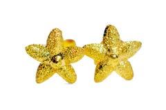 Ювелирные изделия серьги камеи золота привесные в форме звезды изолированные на whi Стоковая Фотография
