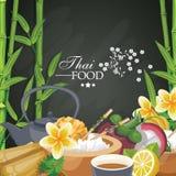 Юговосток еда подготовленная азиатом кухня тайская Этническая еда Таиланда для меню иллюстрация вектора