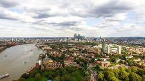 Юговосточный район вида на город Лондона воздушный Стоковые Фото