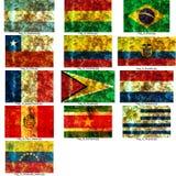 юг американских флагов установленный Стоковые Фотографии RF