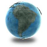 Южная Америка на мраморной земле планеты Стоковые Фото