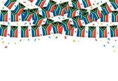 Южная Африка сигнализирует предпосылку гирлянды белую с confetti, овсянкой вида на День независимости иллюстрация штока