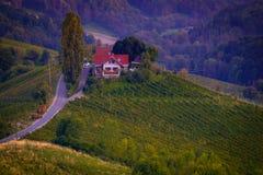 Южная винная дорога Styrian в осени в вечере стоковое фото